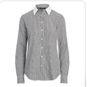 LAUREN RALPH LAUREN Black Stripe Oxford Shirt 1X